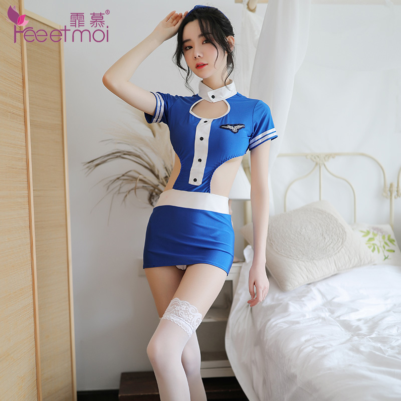 Flight Attendant Uniform Sex Lingerie For Women Hollow Out Backless Erotic Lingerie For Sex Package Buttocks Sexy Hot Underwear in Lingerie Sets from Novelty Special Use