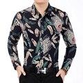 Nuevo Diseño Camisa de Los Hombres de Otoño de Los Hombres Ocasionales de plumas Impresas Camisas de Manga Larga de Los Hombres Camisas de Vestir camisa masculina Más tamaño 7XL