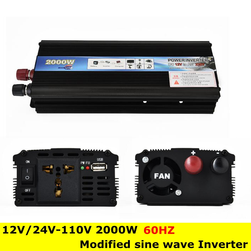 Peak Power 2000W 110V 60HZ Modified Sine Wave Inverter DC 12V/24V to AC 110V 2000W 60HZ Power Low-Power Inverter Converter