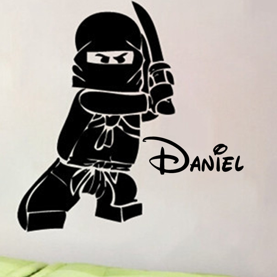 NEW Personalized Name Ninjago Lego Vinyl Decal Sticker For Kids Boy Room Decor Children's Play Room Wall Decor Lego Wall Sticker