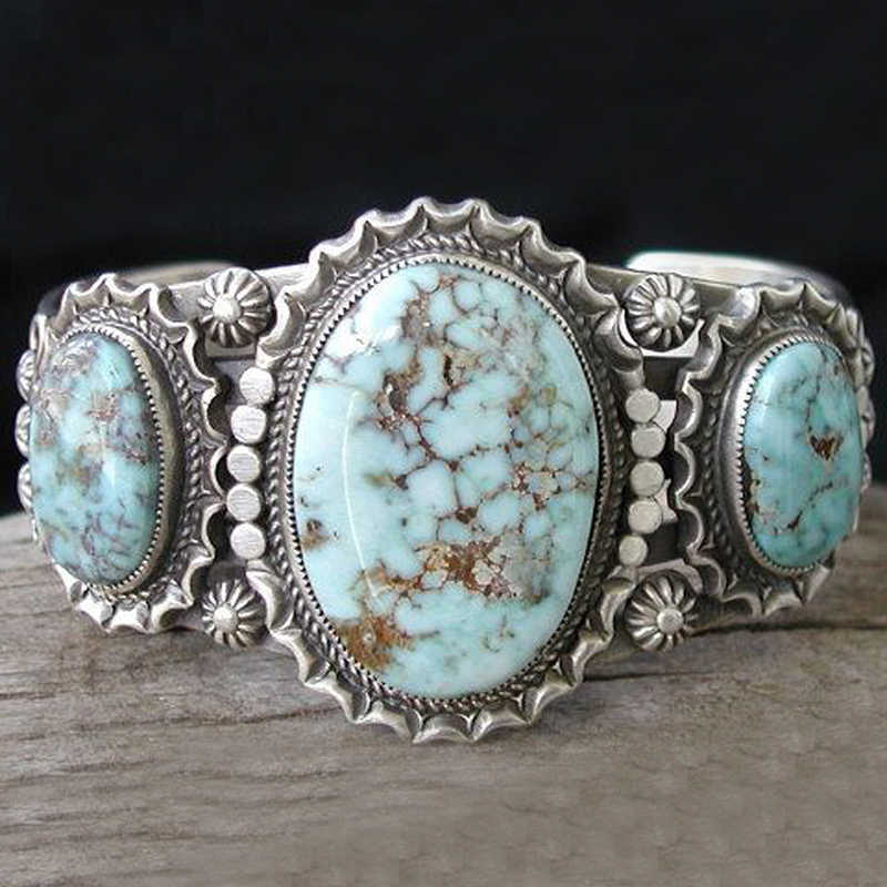 Vintage Natural Three Head Stone Ring Boho Jewelry Silver Color Blue turquoises Sea Finger Ring For Women Men Gifts L3Q706