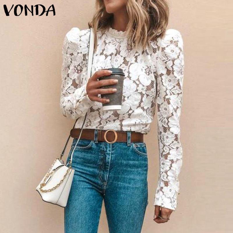 VONDA White Lace Blouse Women Shirt 2019 Spring Bohemian Sexy Long Sleeve O Neck Hollow Blouse OL Shirt Casual Tops Blusas S-5XL