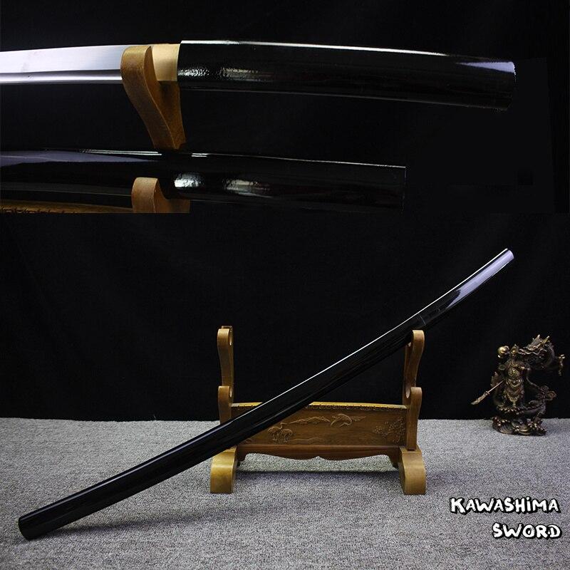 ศิลปะการต่อสู้สำหรับ Handforged ญี่ปุ่น Shirasaya Samurai Katana Sharp Sword 1045 เหล็กคาร์บอนภาพวาดสีดำ-ใน ดาบ จาก บ้านและสวน บน   1