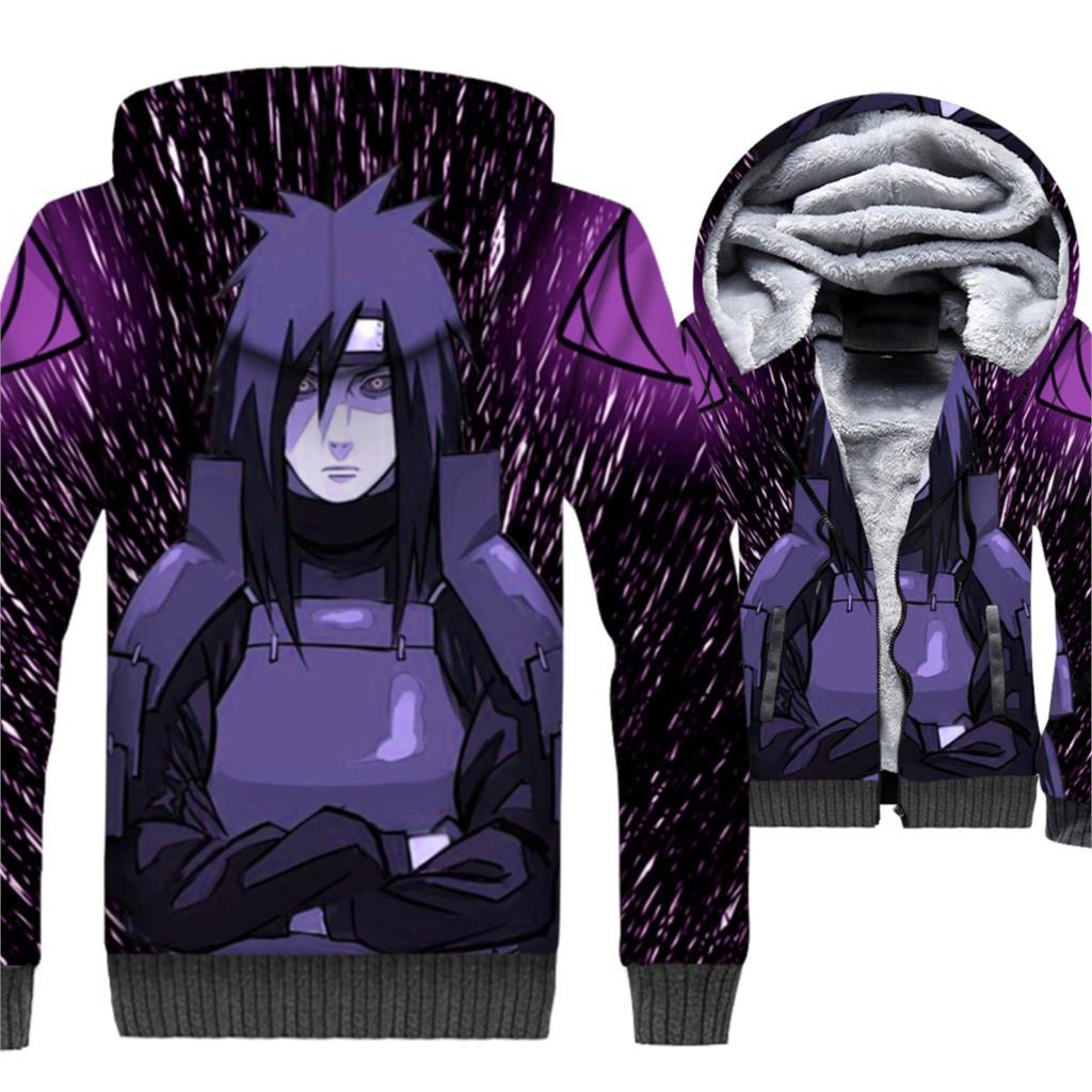Japan Anime Naruto Hoodies Men 3D Jacket Sweatshirt 2018 Winter Thick Fleece Warm Zipper Coat Uchiha Madara Sasuke Streetwear