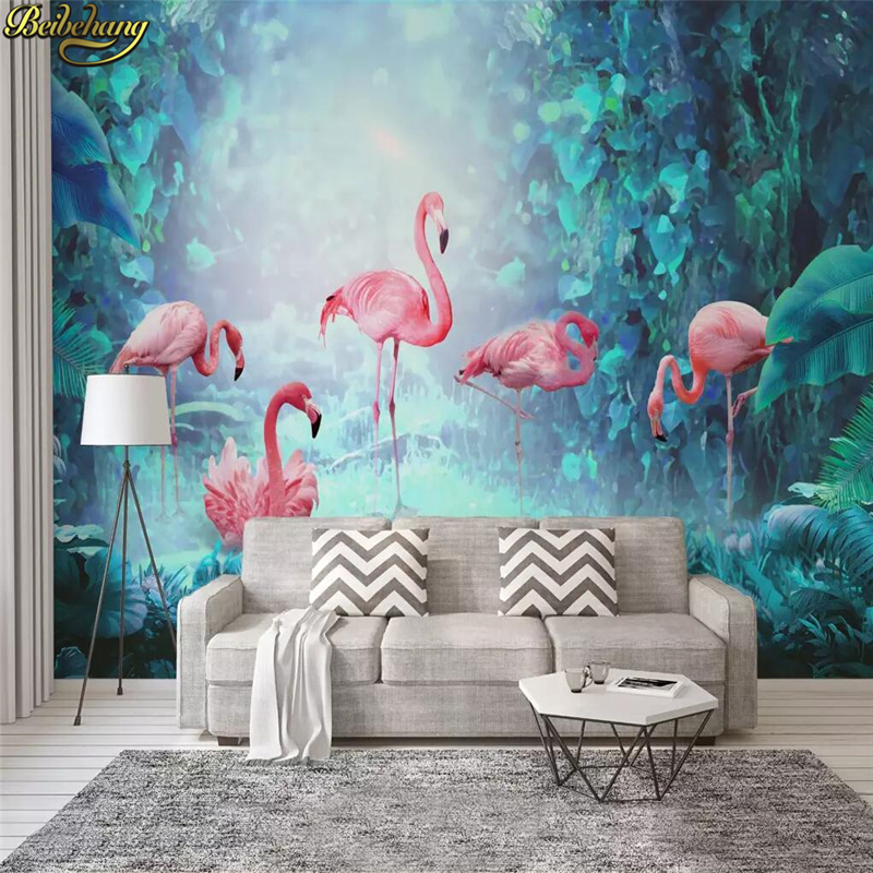 Beibehang Custom Nordic Modern Minimalist Tropical Rainforest Flamingo Wallpaper TV Background Decoration Wall Papers Home Decor