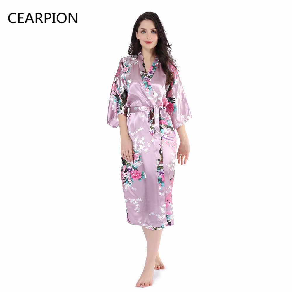 80cec74e63af CEARPION Long Femme Satin Robe Sexy Kimono Dress Gown Nightwear Women  Flower&Peacock Bathrobe Sleepwear Lingerie Home