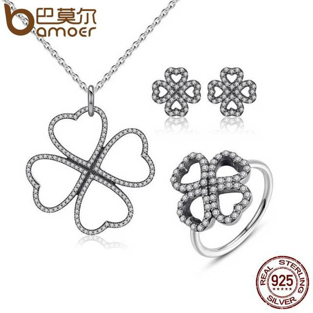 Sterling Silver Heart-Shaped Petals Jewelry Set
