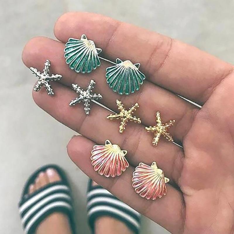 Vintage Women Earrings Set Mix Metal Starfish Shell Boho Stud Earring Jewelry Gold Silver Bohemian Green Pink Earing 3E034 gold earrings for women