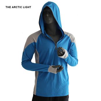 Arktyczne lekkie koszule odzież wędkarska oddychająca koszulka turystyka bieganie mężczyźni szybkoschnący ochrona UV z długim rękawem z kapturem tanie i dobre opinie THE ARCTIC LIGHT Pełna Poliester AD108 Moc suche Camping i piesze wycieczki Pasuje prawda na wymiar weź swój normalny rozmiar
