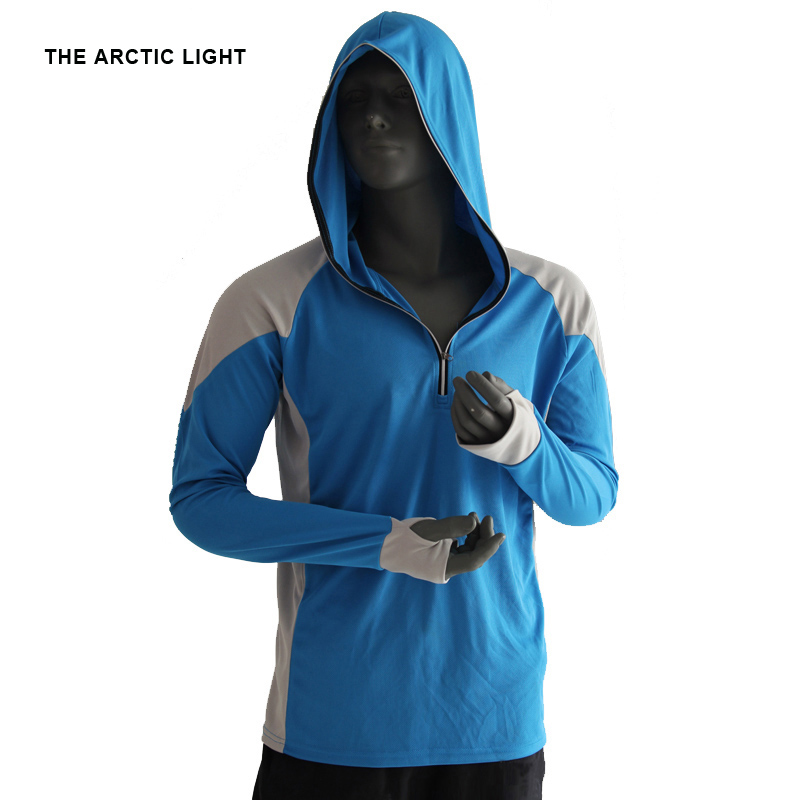 THE ARCTIC LIGHT Shirts Fishing Clothing Breathable Shirt Hiking Running Men Quick Drying UV Protection Long Sleeve Hooded