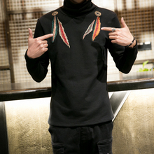 Men Winter T-shirt  Thicken Velvet Embroidery Fashion Casual Turtleneck Tee Shirt Punk Style Male Warm Long Sleeve T-shirt