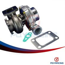 PQY STORE- GT3582 GT35 GT3582R T3 flange oil and water 4 bolt turbocharger turbo compressor A/R .70 Turbine A/R .82 PQY-TURBO32