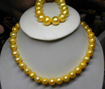 Hot Sell AAA 12-13mm natural akoya yellow pearl necklace bracelet set