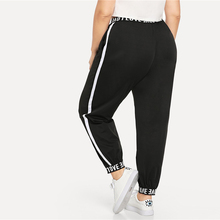 Sport Plus Size Black Letter Printed Women's Fitness Pants
