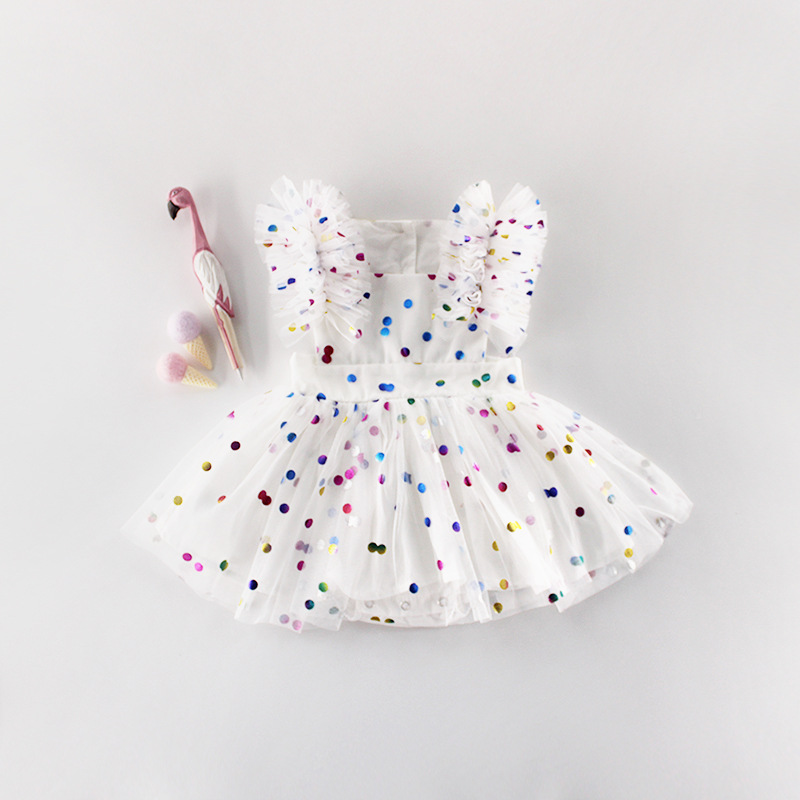 Summer Newborn Baby Girls Rompers Lovely Cotton Dot print Fold Sleeveless Jumpsuit Toddler Body Dress One pieces Clothes Outfits in Rompers from Mother Kids