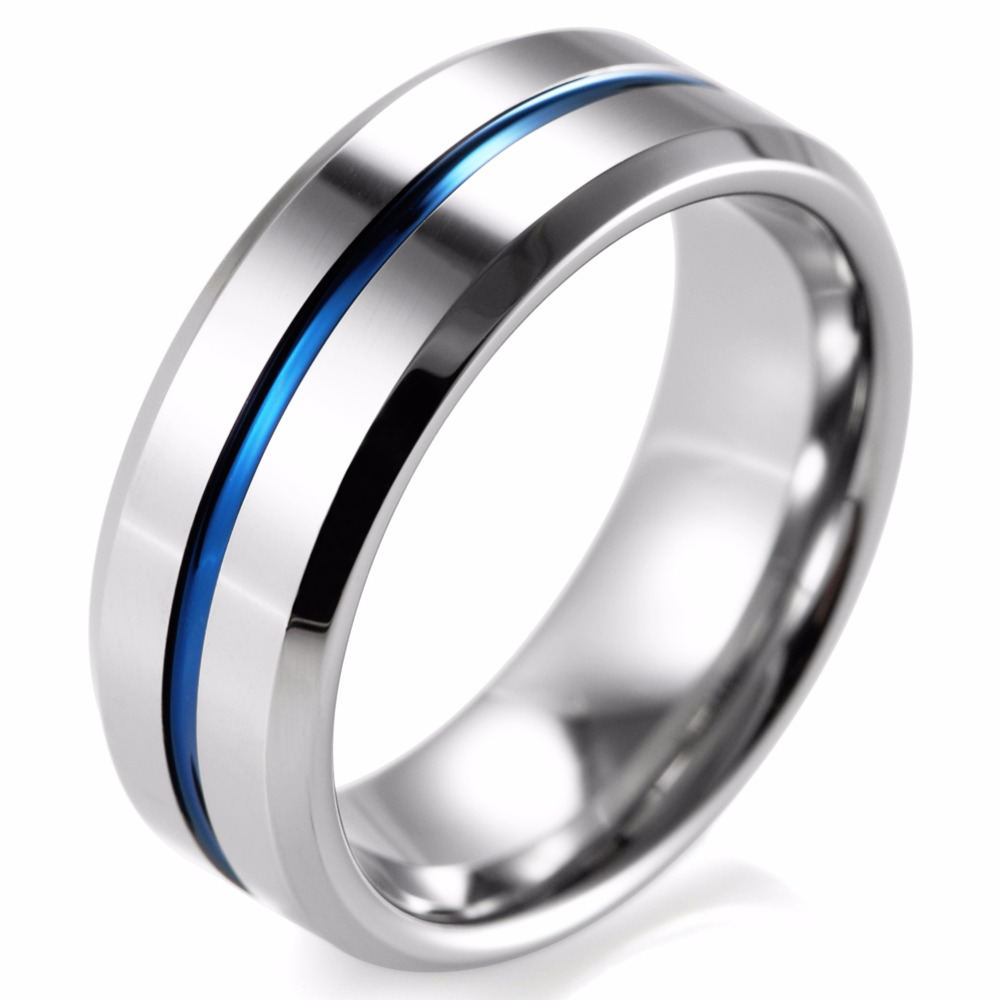 Shardon 8mm Beveled Tungsten Carbide Wedding Band Ring High Polished Blue  Line Ring Mens Wedding Band