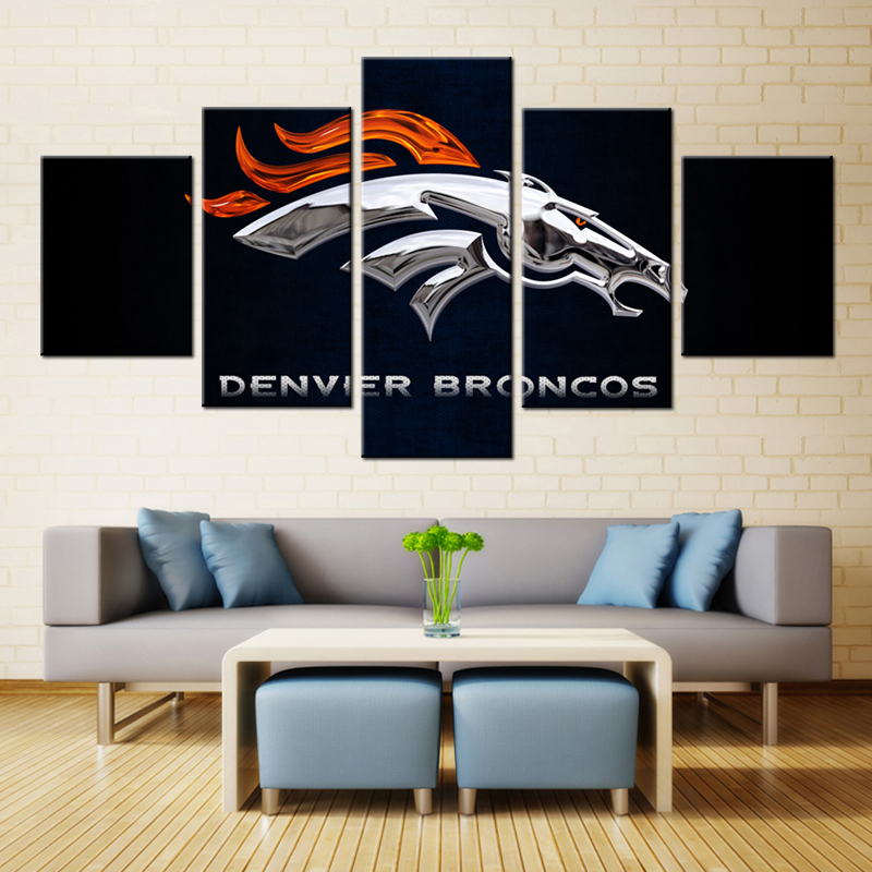 5 Panel Denver Broncos Sport Team Deco Fans Posters Oil Painting On Canvas Modern Home Pictures