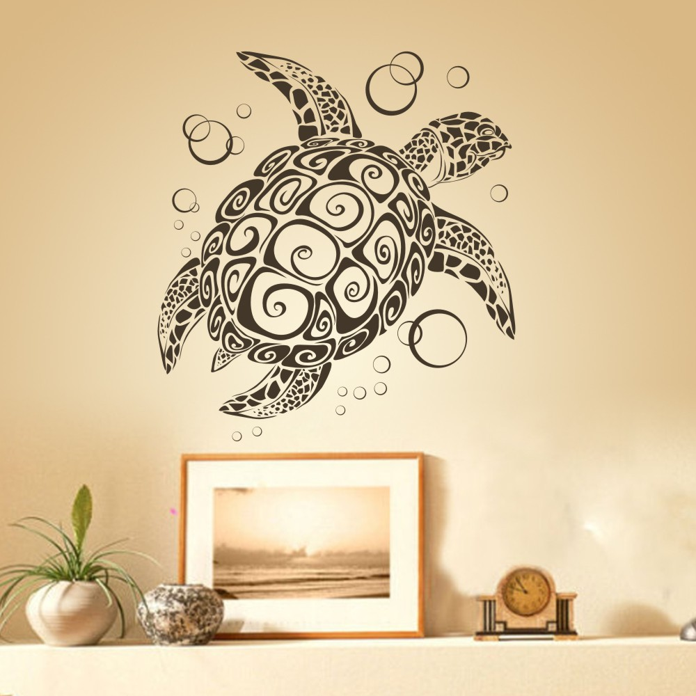 Sea Turtle with Bubbles uBer Decals home decoration Tortoise Wall Decor 3D Wall Decal art Stickers Removable mural 34\