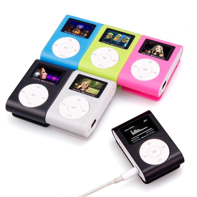 MP3 Player USB Clip Mini LCD Screen Support 32GB Micro SD TF Card 3.5mm Stereo Jack Easy Clip MP3 Player Supports USB 2.0/1.1