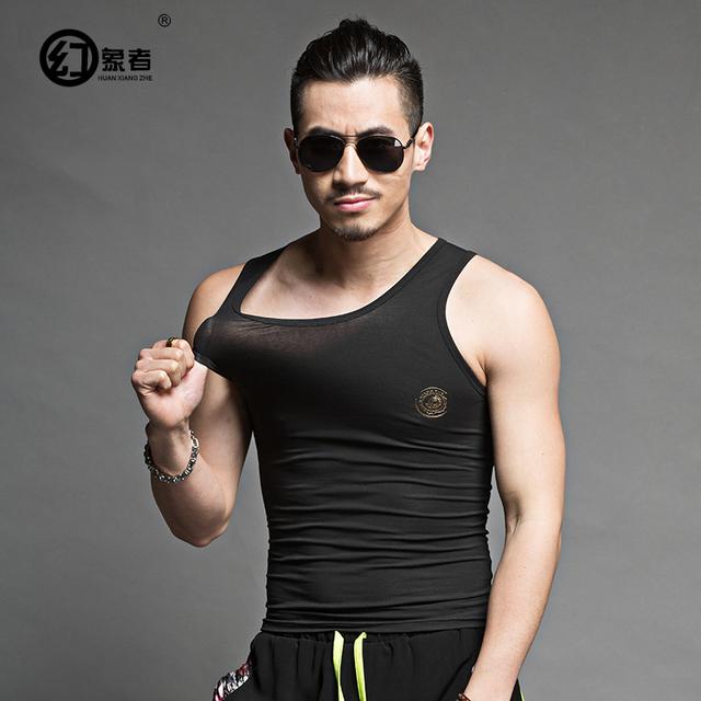 Elástica fina Lazer Verão Bodycon camiseta Sem Mangas Tanque T-shirt Apertado Colete Masculino Slim Fit Homens Tanque Elástico Encabeça
