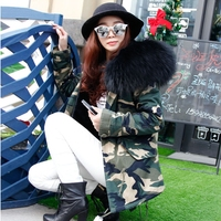 Real Raccoon Fur Collar Parka Coat With Fur Women Winter Jacket Natural Fur Hood Parka Detachable