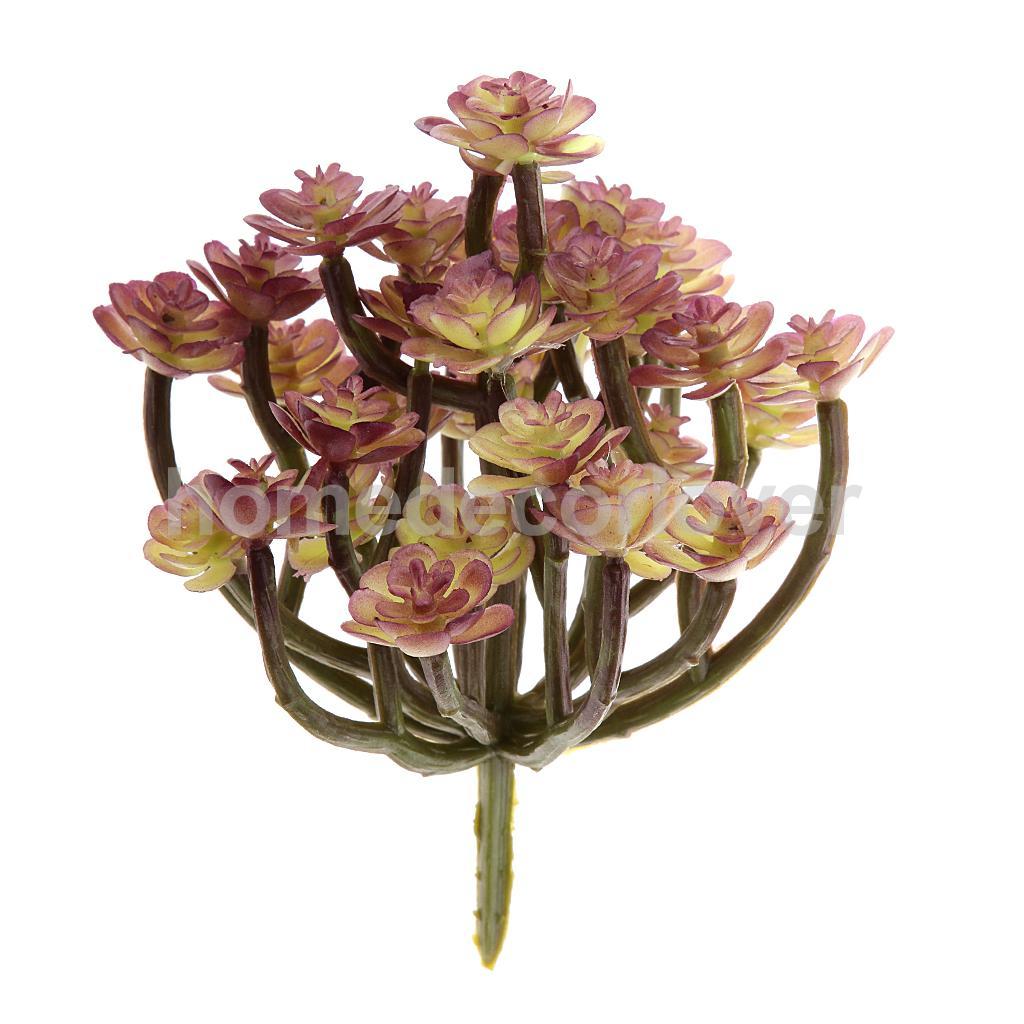 Artificial Succulent 13 Branch Cactus Flower Foliage Plastic Plant Decor in D