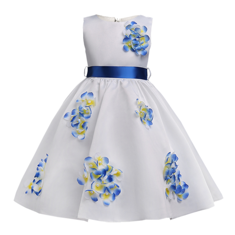 Kids Flower Girl Dress For Party and Wedding Dresses Girls Sleeveless Princess Dress 2018 new summer  3-14 yrs Children Clothes new fashion embroidery flower big girls princess dress summer kids dresses for wedding and party baby girl lace dress cute bow
