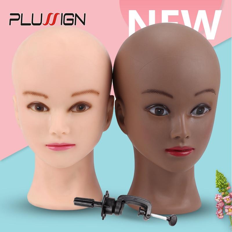 Dark Brown Skin Soft Pvc Wig Mannequin Head Wig Holder Begie Skin Color For Hat Display Wig Making Tools Bald Block Heads 20.5