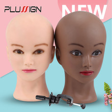 "Dark Brown Skin Soft Pvc Wig Mannequin Head Wig Holder Begie Skin Color For Hat Display Wig Making Tools Bald Block Heads 20.5""(China)"