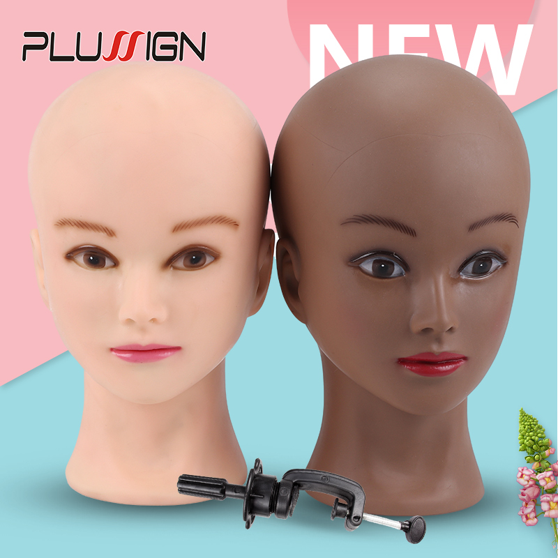 Dark Brown Skin Soft Pvc Wig Mannequin Head Wig Holder Begie Skin Color For <font><b>Hat</b></font> Display Wig Making Tools Bald <font><b>Block</b></font> Heads 20.5