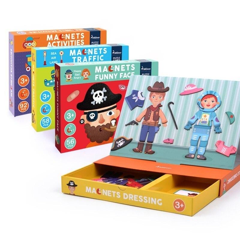 Puzzle aimant habiller trafic géométrique jeux de changement de visage jouets éducatifs pour les enfants