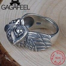 GAGAFEEL ผู้ชายนกฮูกแหวนเงิน 925 เปิดแหวนชาย Lucky นักบุญอุปถัมภ์เครื่องประดับขายส่งของขวัญ