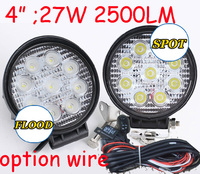 Only 18USD PCS 4 27W 2500LM 10 30V 6500K LED Working Light Free Ship Optional Wire