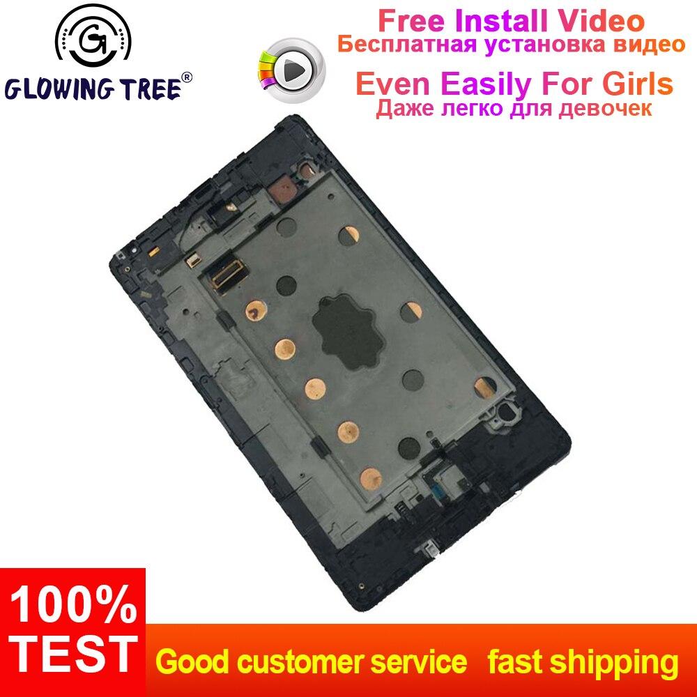 Blanc pour Samsung Tab S 8.4 T700 plein écran tactile numériseur capteur verre + LCD panneau d'affichage moniteur assemblage avec cadre