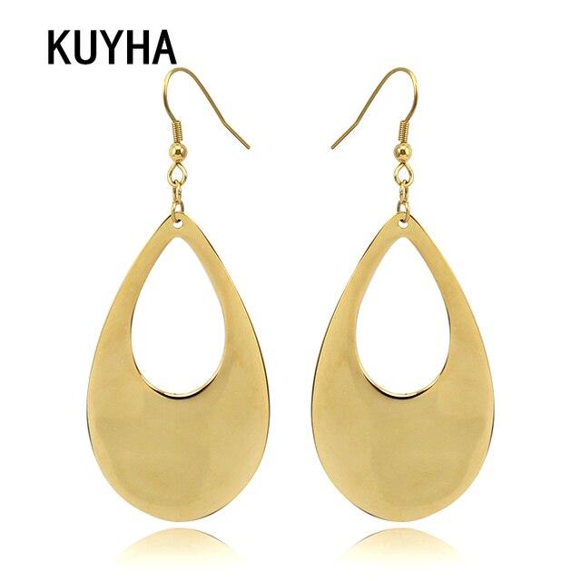 Latest Fashion Design Earrings For Women Trendy Gold Oval Geometric Metal Stud Ear Jewelry