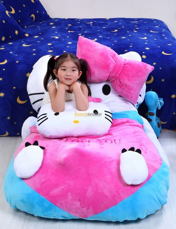 Fancytrader 140cm X 100cm  Giant Lovely  Hello Kitty Bed Carpet Sofa Tatami for Kids, Free Shipping FT50311  (7)