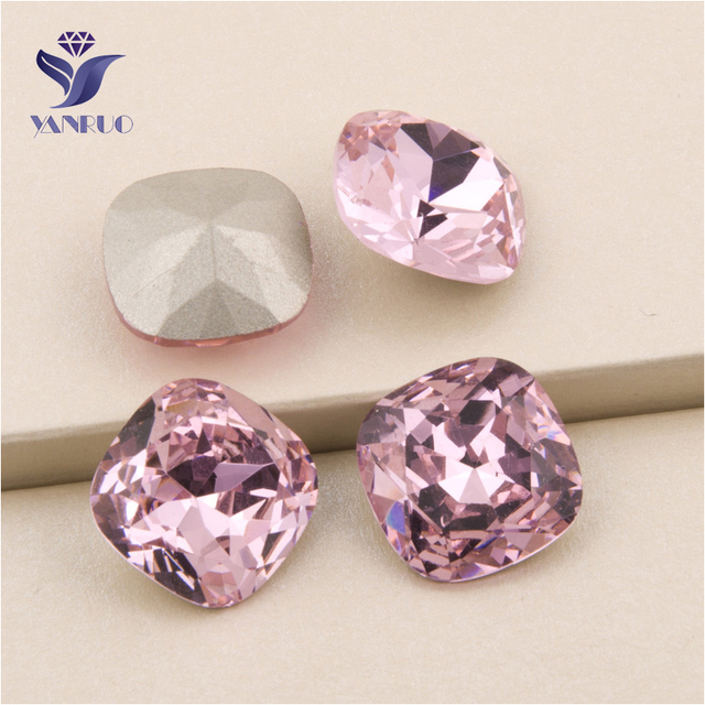 YANRUO  4470 All Sizes Light Rose Cushion Cut Sewing Stones Crystal Pointed  Back Strass Glass Rhinestone For Jewelry deb33f7a745f