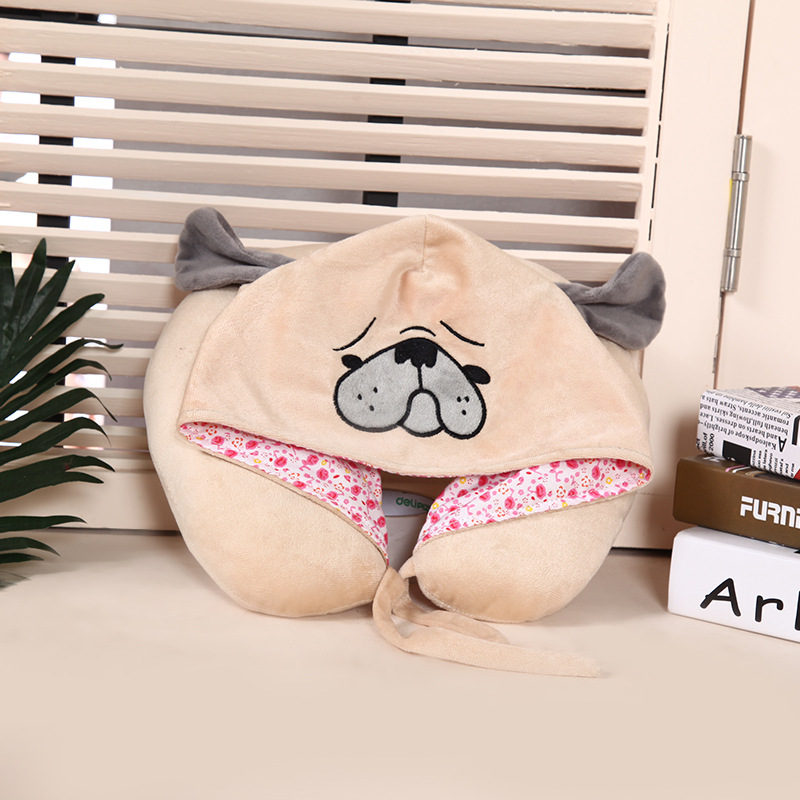 New Pug Dog U-shaped Travel Hoodie Pillow Cute Cartoon Neck Support Pillows with Hooded for Airplane Flight Sleeping