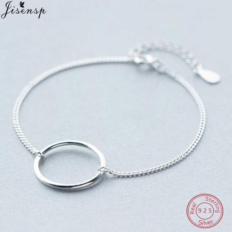Jisensp Genuine 925 Sterling Silver Luxury Round Circle Bracelets for Women Geometric Bangles Everyday Jewelry Wedding Gift