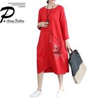 2018 Autumn Cotton & Linen New slim hem irregular Dress Women Fashion Large size abstract Embroidered Long Sleeve O neck Dresses