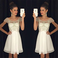 Hot 2017 New Pretty Girl's Chiffon Cap Sleeve Crystal A-Line Short/Mini Dress Formal Gown robe de cocktail Dresses Custom Size