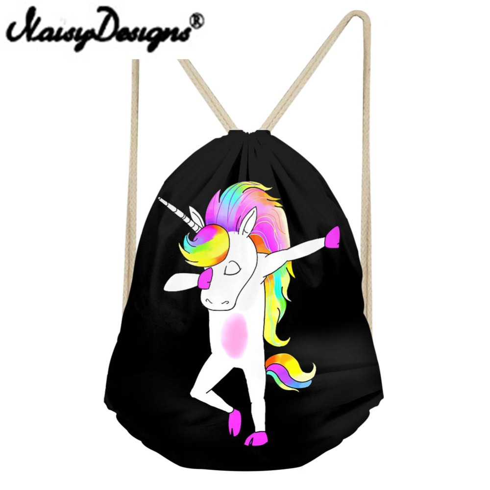 NOISYDESIGNS Funny Swag Unicorn Printing Colorful Drawstring Backpack Man's Portable Bags Storage Pouch For Women Mochila 2018