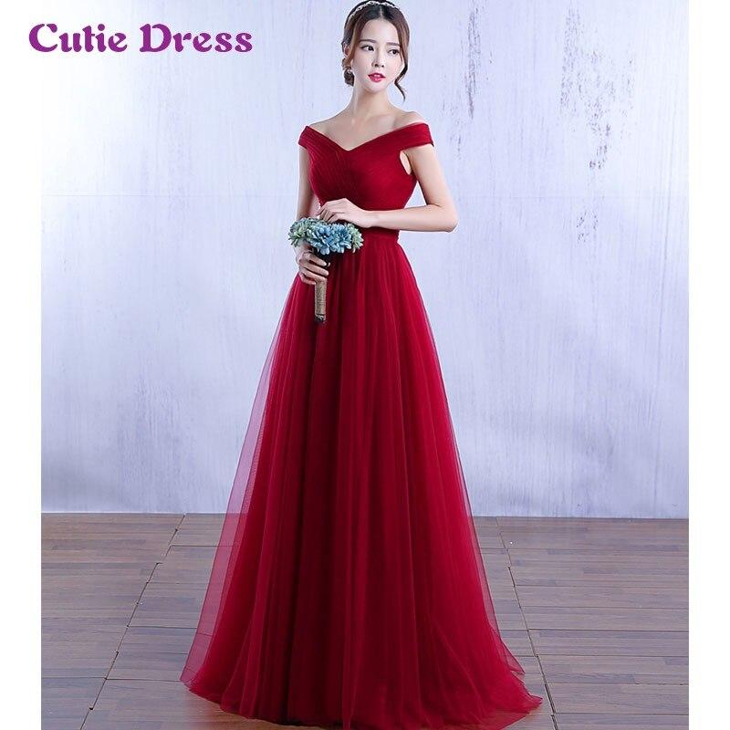 Fuera del Hombro Una Línea de Borgoña Vestidos de Noche Largos Simple Elegante de Tulle de