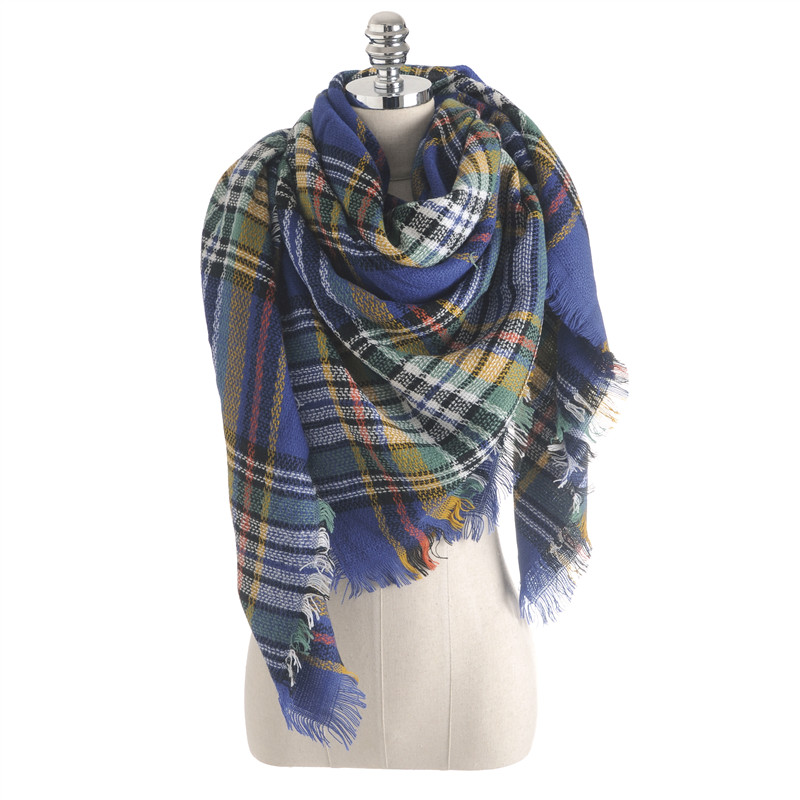 Za Winter 2016 Luxury font b Tartan b font Cashmere Scarf Women Plaid Scarves New Designer