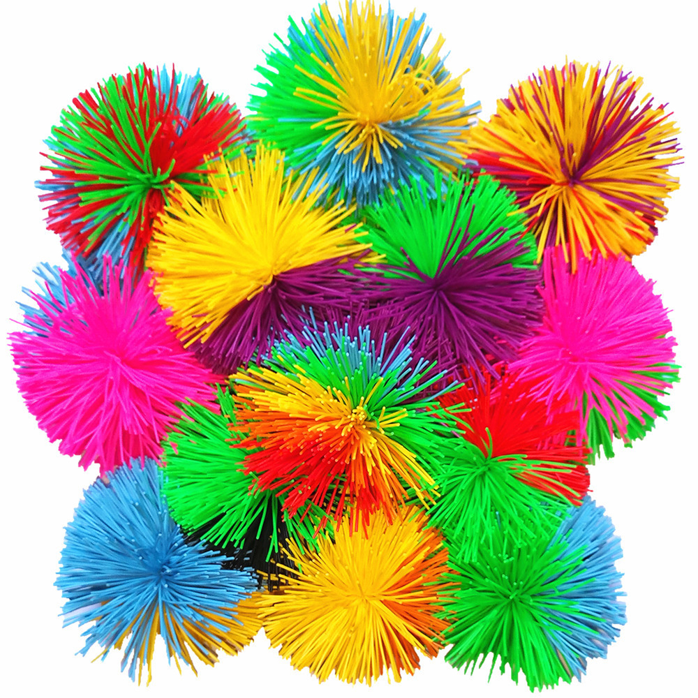 8cm New Rainbow Mixed Koosh Squishy Ball Sensory Fidget Toy For Autism Occupational Stress Relief Funny Kids Anti-stress Toy