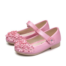 pink blue elegant Girls Childrens leather shoes Girl Low heeled flowers Princess Shoes Spring Dance Wedding Party Dress