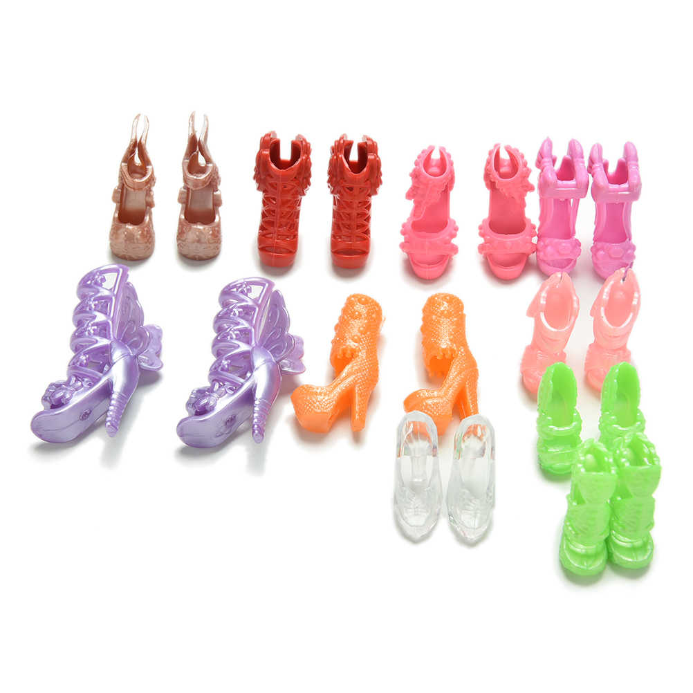 Wholesale 20Pcs/Lot Fashion Fixed Styles Doll Shoes Bandage Bow High Heel Sandals for girl Dolls Accessories Toys Color Random