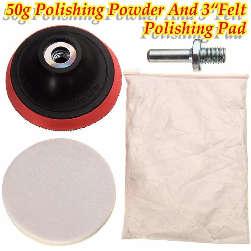 50g Cerium Oxide Polishing Powder And 3 Felt Polishing Wheel Pad&Drill Adapter Durable Quality