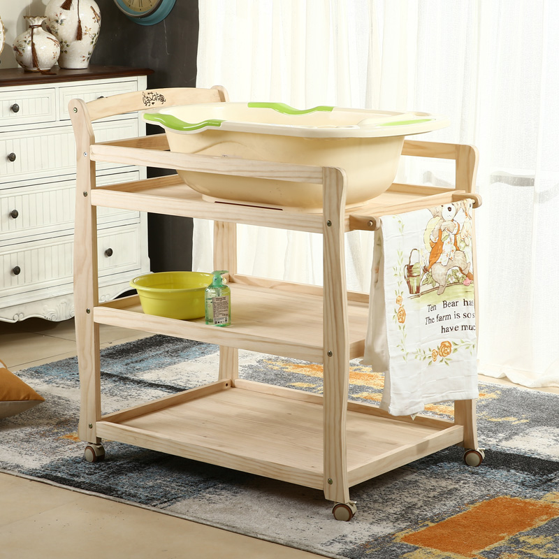 2019 Upgraded Solid Wood Baby Diaper Table Bath Storage Dressing Table Large Capacity Multi-function Bath