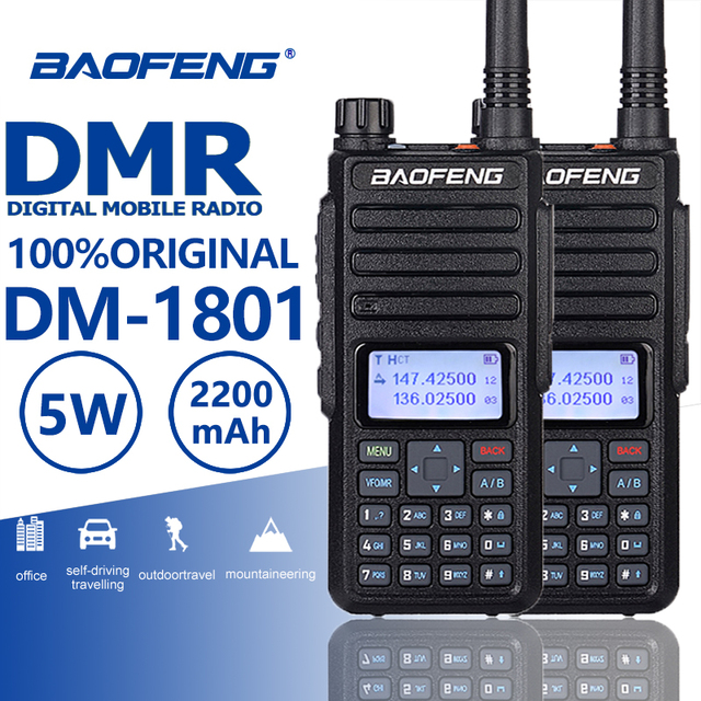 2pcs 2019 Baofeng DM 1801 DMR Digital Walkie Talkie Tier 1/2 Ham Radio UHF VHF Walky Talky Professional CB Radio Station Telsiz